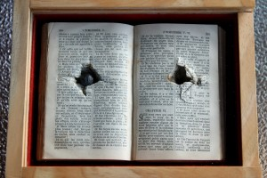 The box housing the Bible made of Lone Pine from Gallipoli