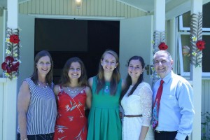 From left: Sheree, Desiree, Anne, Larissa and Zac Veron after a Christmas Day service on Lord Howe Island at which they made musical presentations.