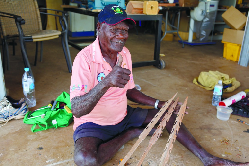 Murabuda making spears in the men's shed