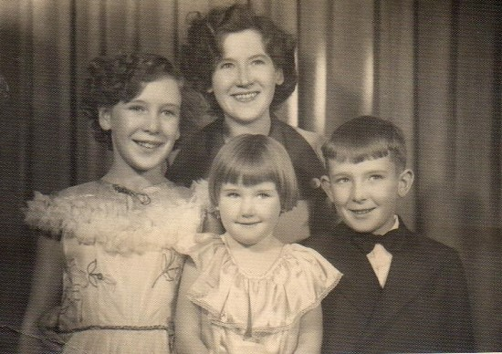 The author's grandmother Alice with her three children.