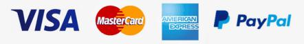 Visa, Mastercard, American Express & Paypal