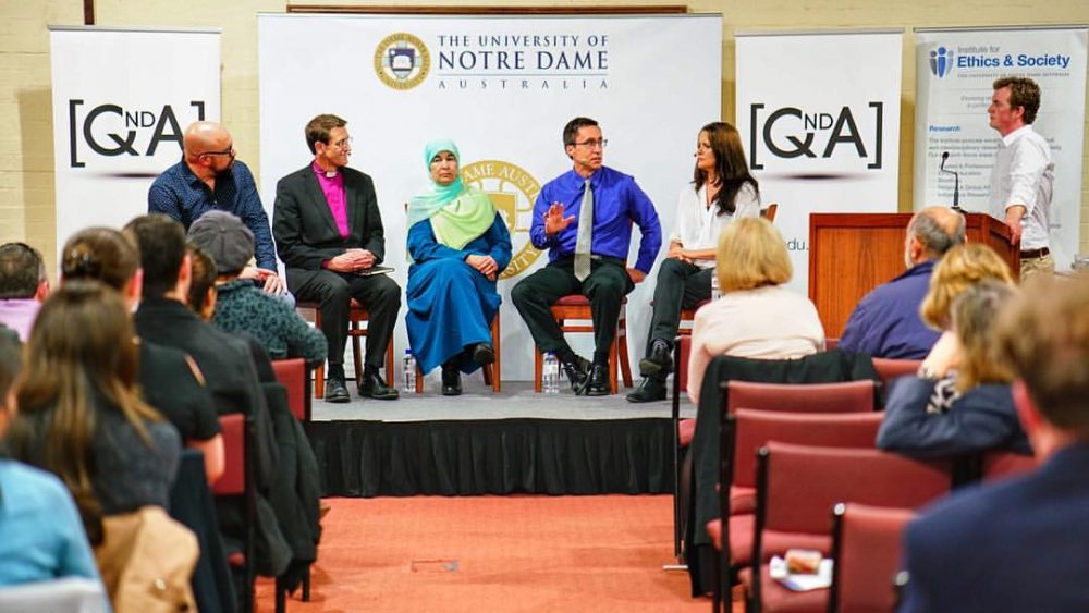 (From left) Scott Stephens, Michael Stead, Maha Abdo, William Cavanaugh, Melinda Tankard Reist on the QandA panel for University of Notre Dame.