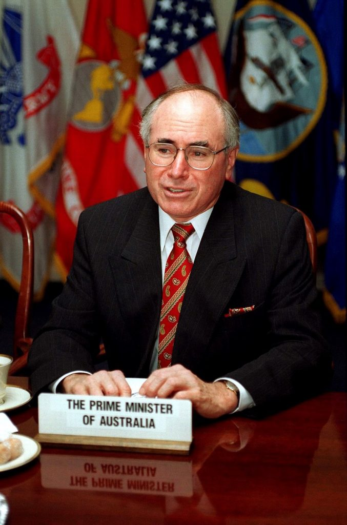 Prime Minister of Australia, the Honorable John Howard meets with Secretary of Defense William S. Cohen at the Pentagon on June 27, 1997.