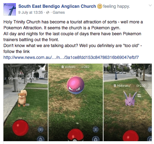 Facebook screenshot, South East Bendigo Anglican Church