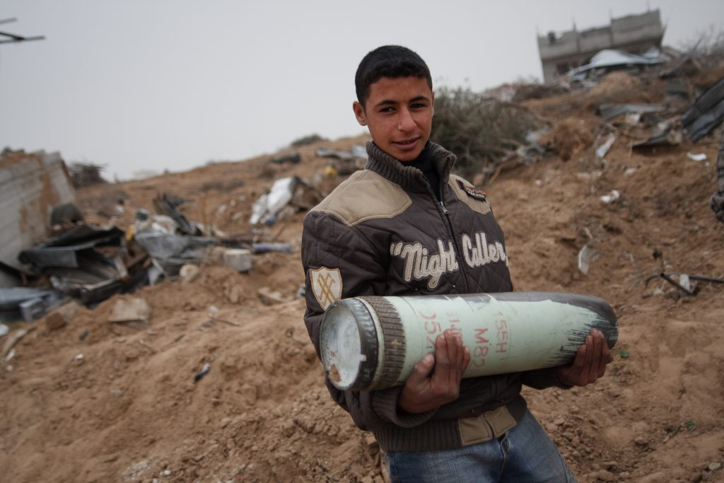 A child in Gaza city during the cease fire after the 2008-2009 Gaza conflict.