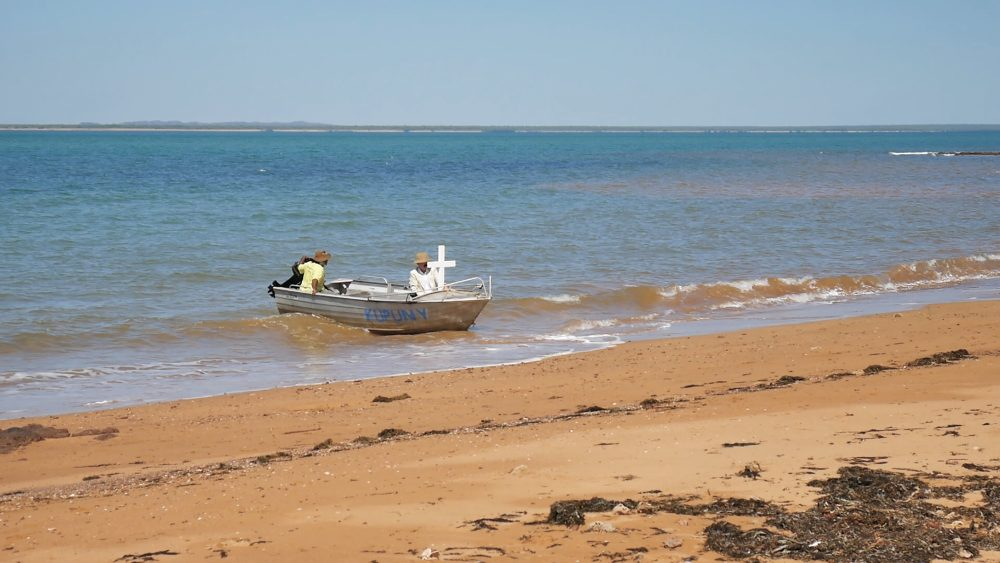 A re-enactment of the arrival of the first missionaries on Goulburn Island 100 years ago