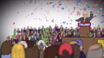 An animated Donald Trump delivering a speech