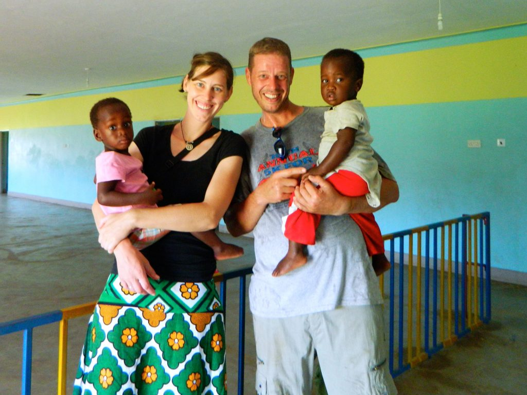 Rob and Tianne Varicak with children in South Sudan.