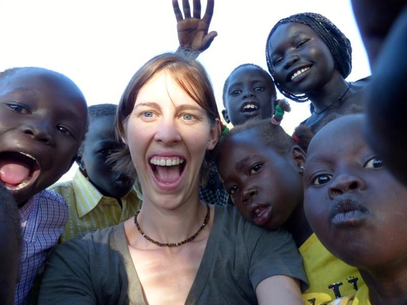 Tianne with children in Doro, South Sudan.