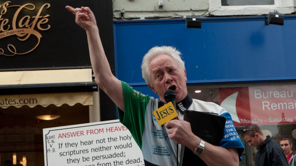 Street preacher in Dublin