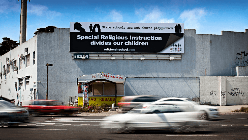 An anti-religion in schools billboard in VIC