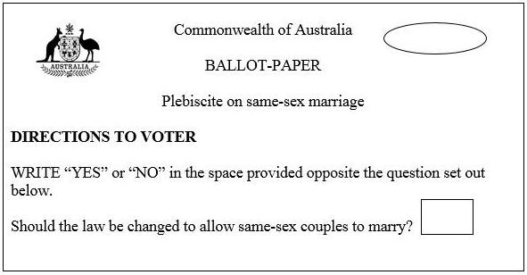 The ballot for the proposed plebiscite