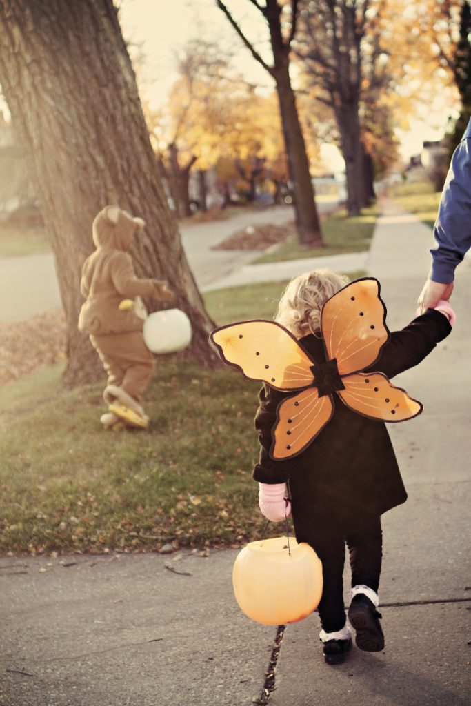 Trick of treating on Halloween