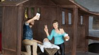Joseph and Mary pose for their first selfie with Baby Jesus, in the Hipster Nativity