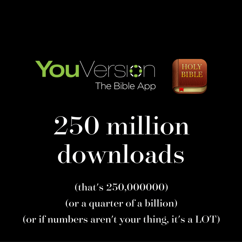YouVersion Bible App downloaded over 250 million times