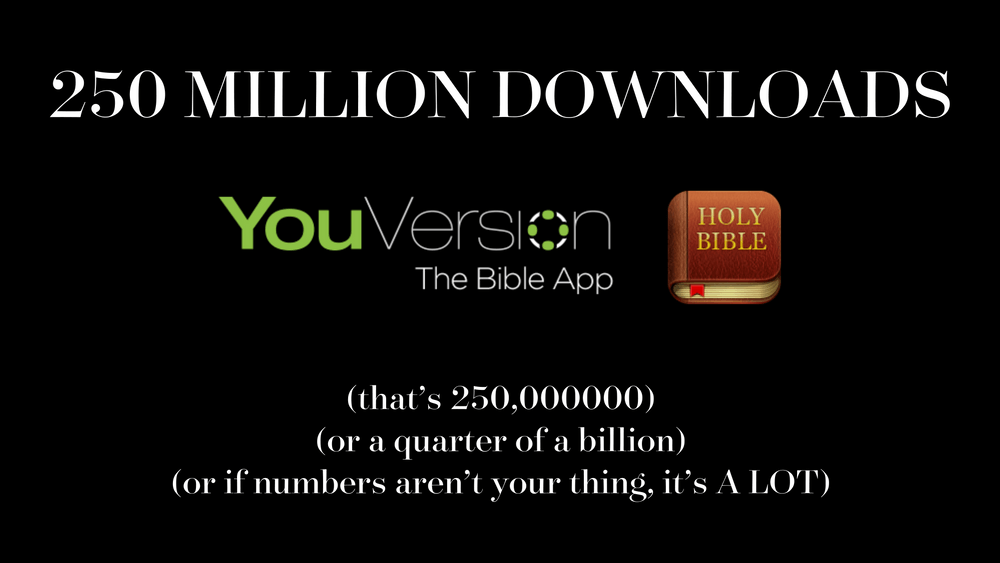 YouVersion's Bible App has been downloaded over 250 million times