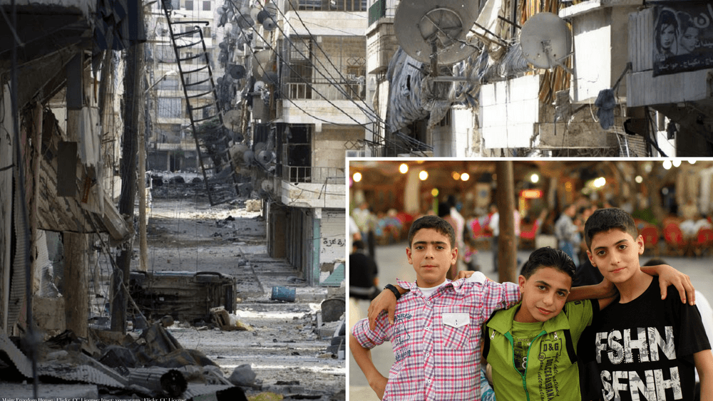 Main: Aleppo streets are destroyed; Inset: children in Aleppo