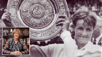 Main image: Margaret Court with the Wimbledon trophy; Inset: Pastor Margaret Court at Victory Life Centre, Perth