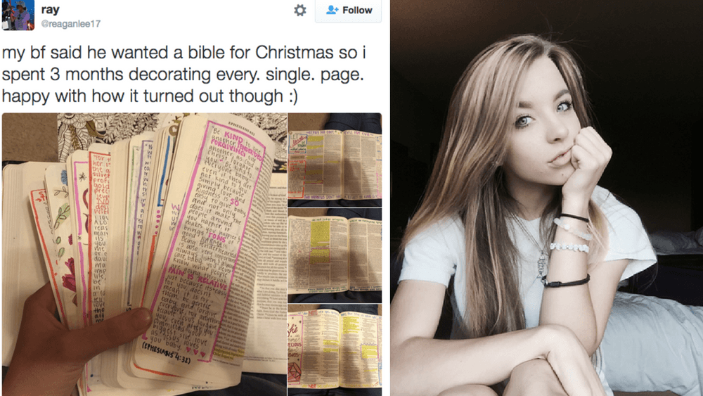 16-year-old Reagan Lee spent three months decorating this Bible for her boyfriend