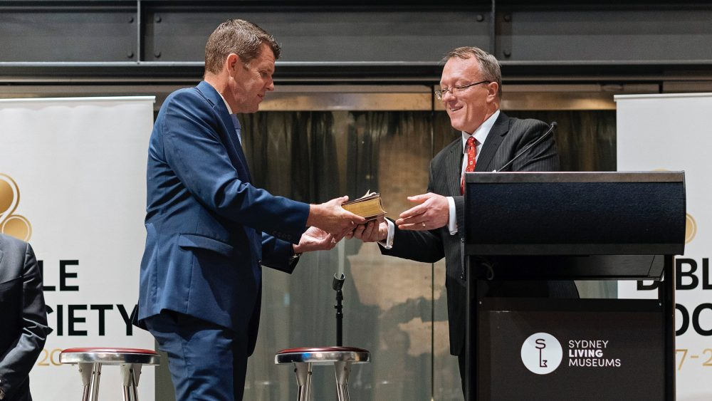 Greg Clarke, CEO of Bible Society, presents Premier of NSW Mike Baird with a Kriol Bible