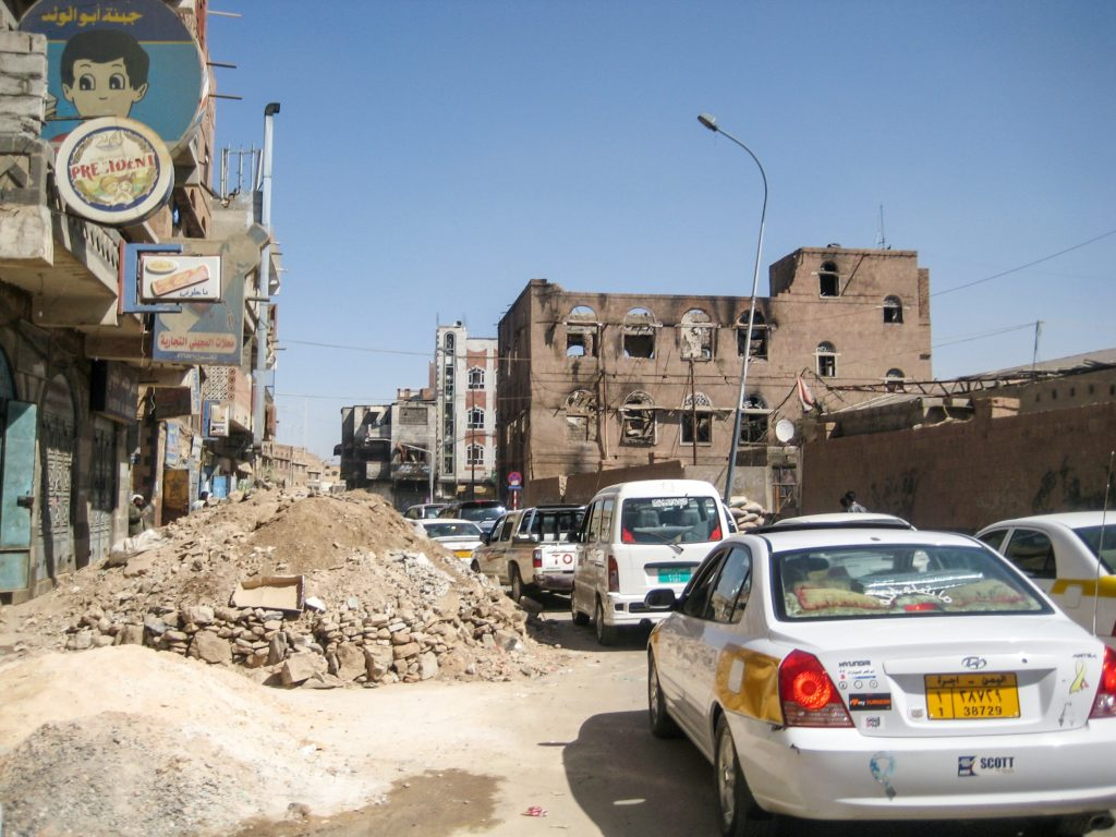Capital of Sana'a in Yemen at early stages of fighting