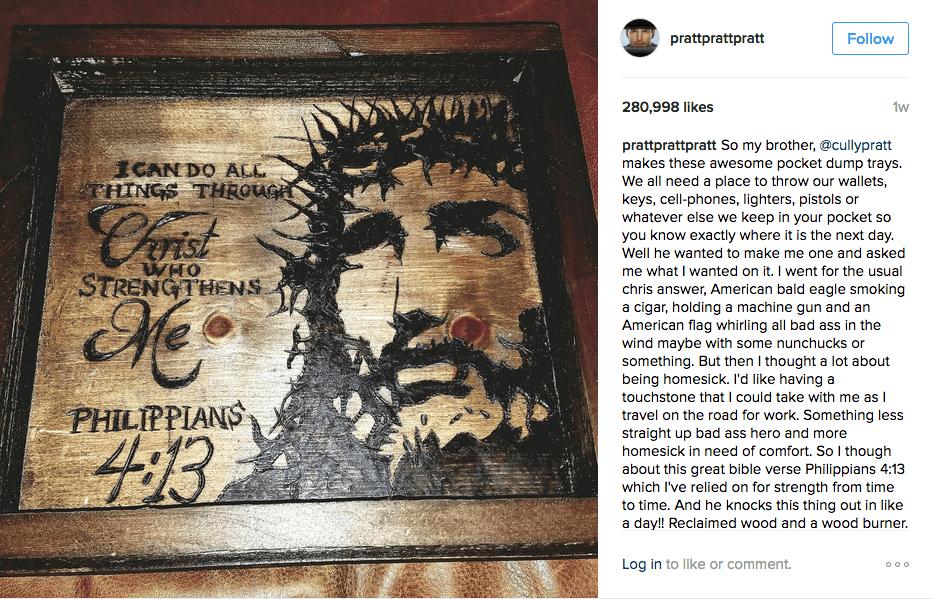 Chris Pratt shows off Phil 4:13 on Instagram