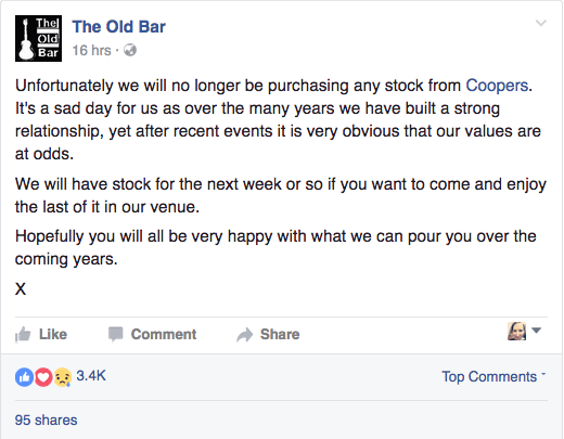 The Old Bar in Futzroy, Melbourne, will no longer stock Coopers
