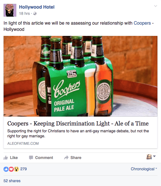 """Sydney's Hollywood Hotel """"reassessing"""" relationship with Coopers"""