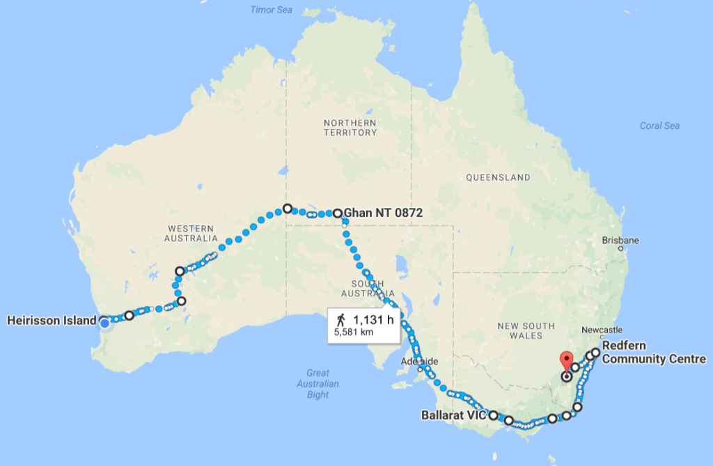 The route Clinton will take to get from Perth to Canberra