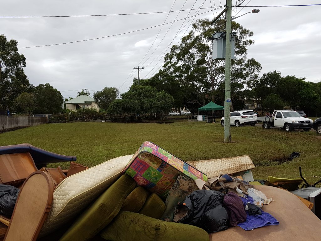 The streets of north and south Lismore are lined with furniture destroyed in the flood