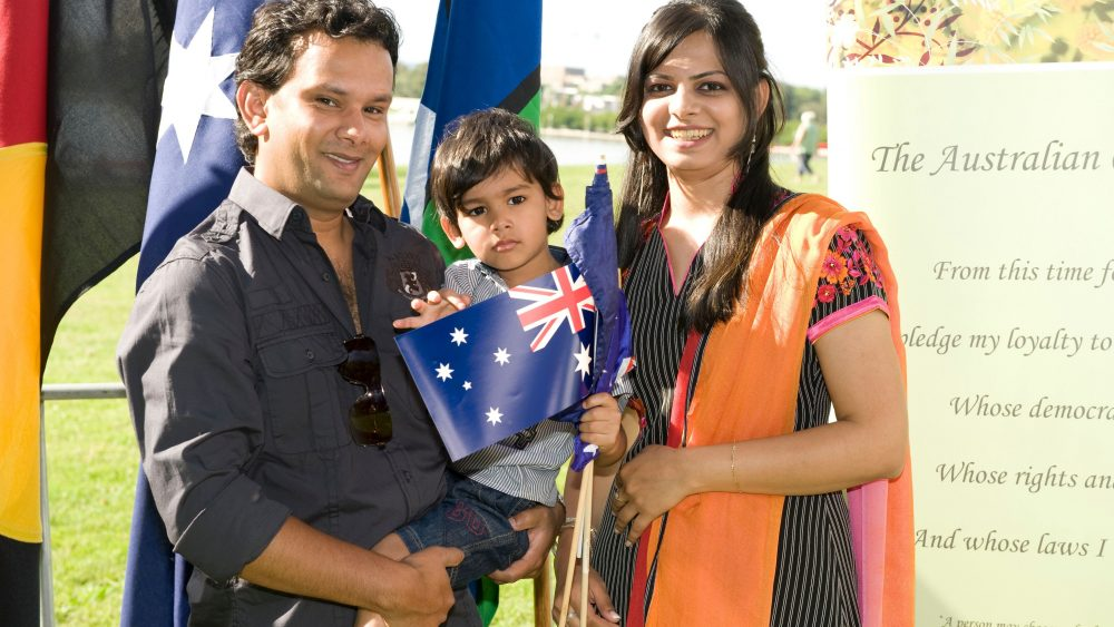 A family becomes Australian citizens in 2011