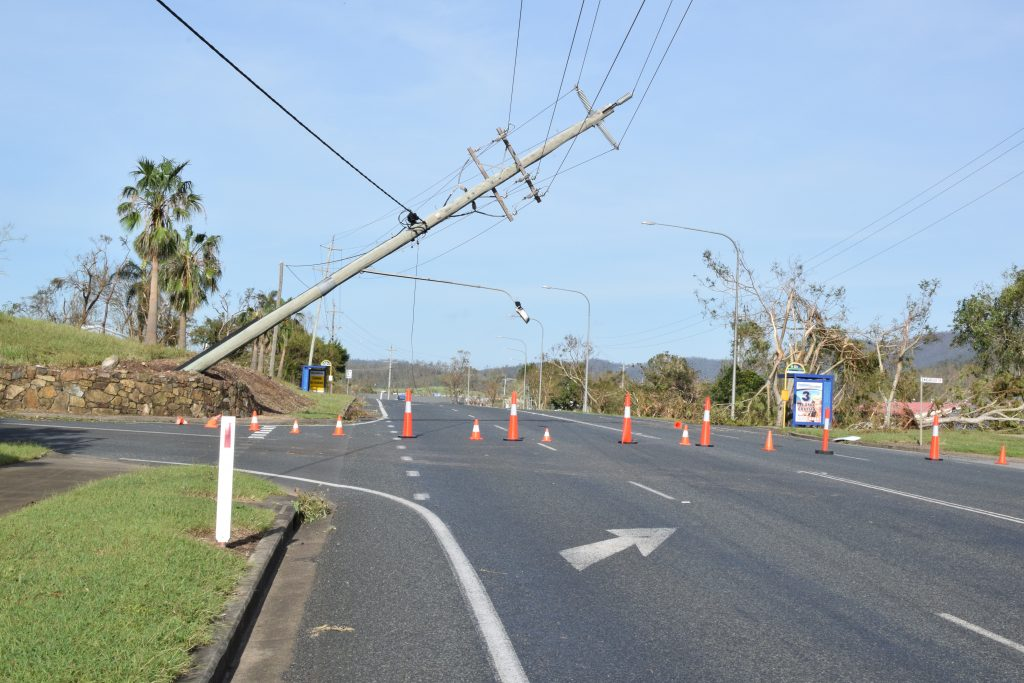 Cyclone Debbie brought down powerlines across the Whitsunday region