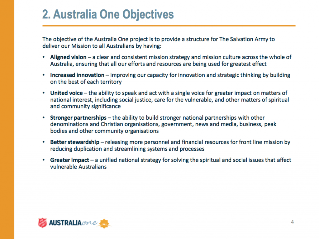 Objectives of the new Salvos Australia One