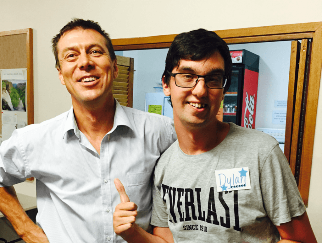 At Jesus Club Jannali, south of Sydney, leader Barry enjoys a moment with member Dylan