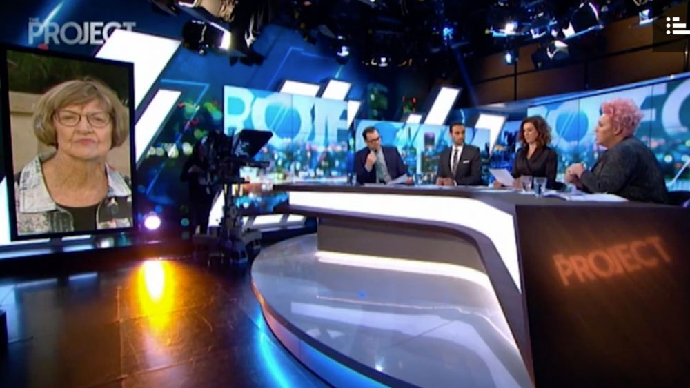 Margaret Court takes on 10's The Project team