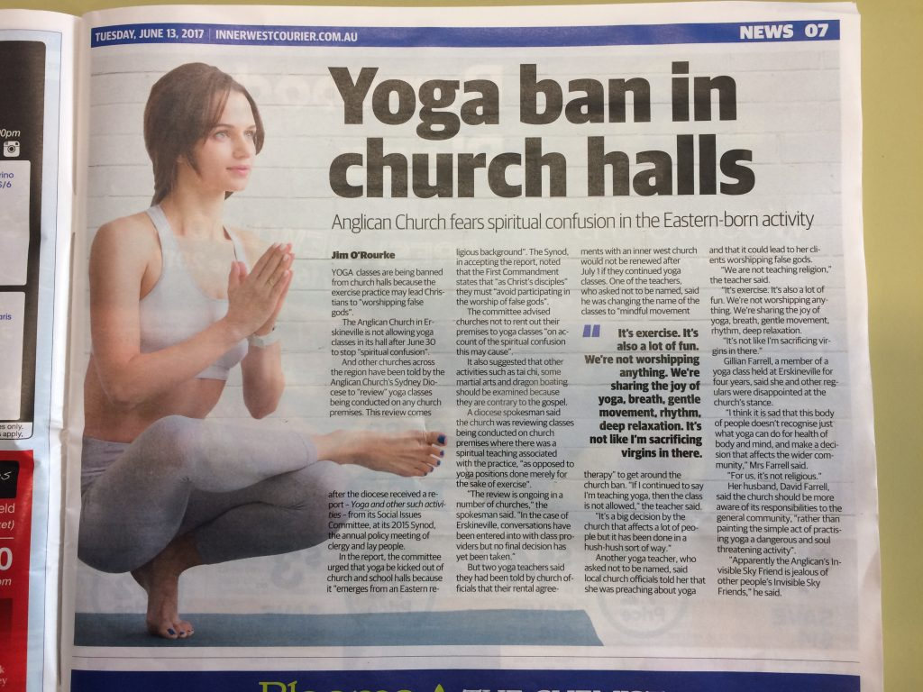 The Inner West Courier reports on the yoga ban
