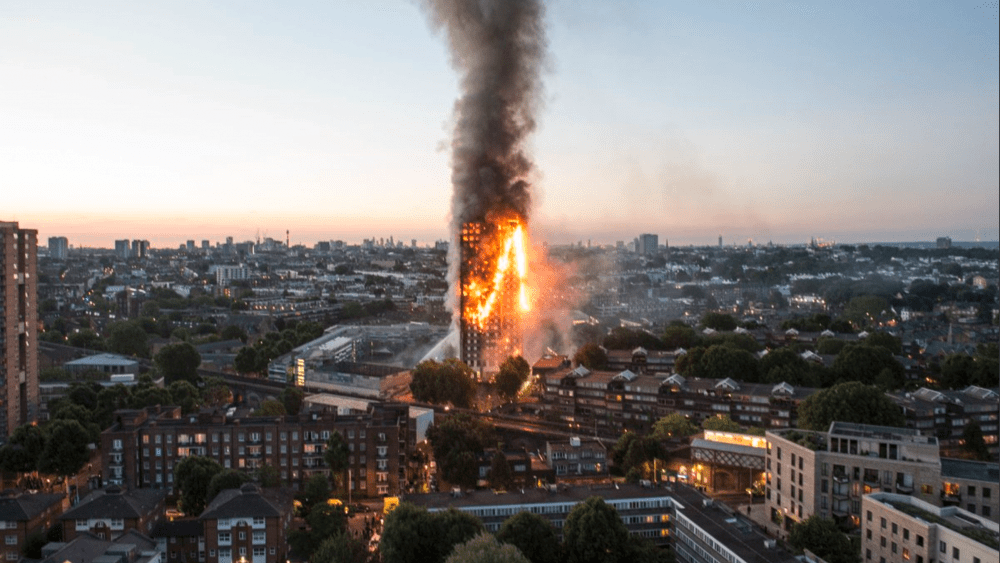 The London fire engulfed this building