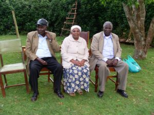 Senator Lucy Gichuhi's father Justus Weru on the left, his sister Tata Anna and his twin brother James Magma