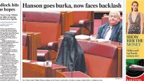 Pauline Hanson wearing a burqa in the Senate, pictured on the front page of The Australian