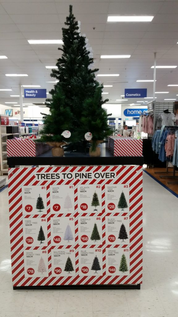 "The trees in question, from a Big W store in Orange, NSW. Big W's Christmas tree selection this year omitted the word ""Christmas"" from its packaging, sparking customer outrage."