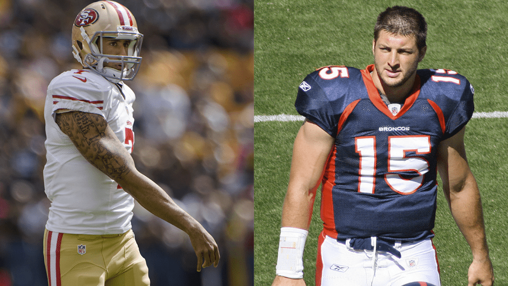 Colin Kaepernick (left), Tim Tebow (right)