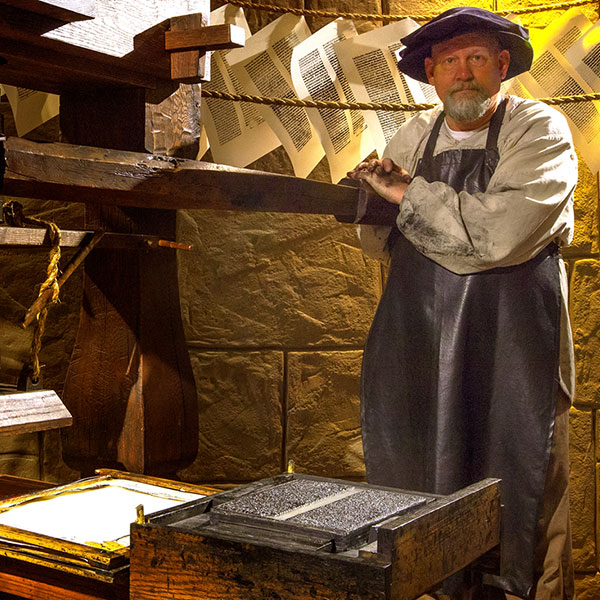 One of the exhibits examines the history of the printing press and the Bible