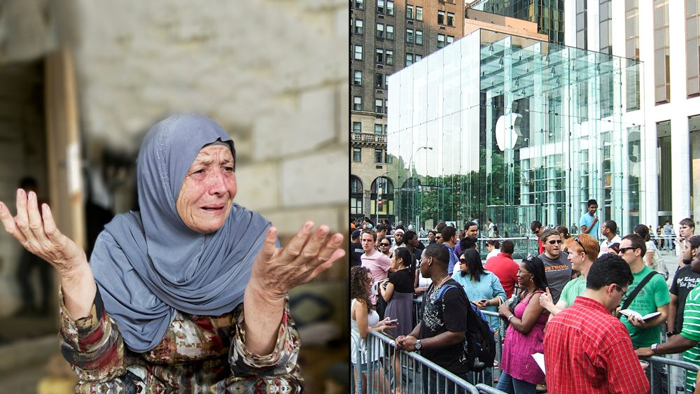 A Syrian refugee recalls her trauma, left, as people line up for Apple products, right.