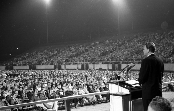 Evangelist Billy Graham speaking at Doak Campbell Stadium in Tallahassee, Florida