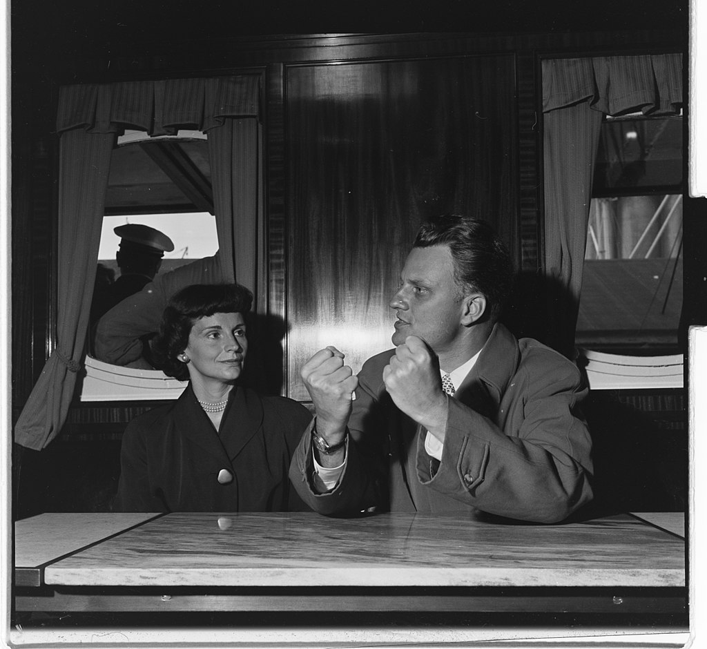 Billy Graham with Ruth Bell Graham in Oslo, Norway in 1955