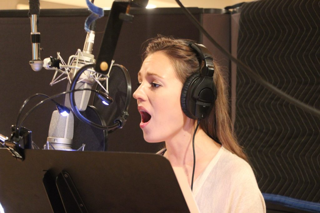 Laura Osnes at Downtown Music Studios recording Angels