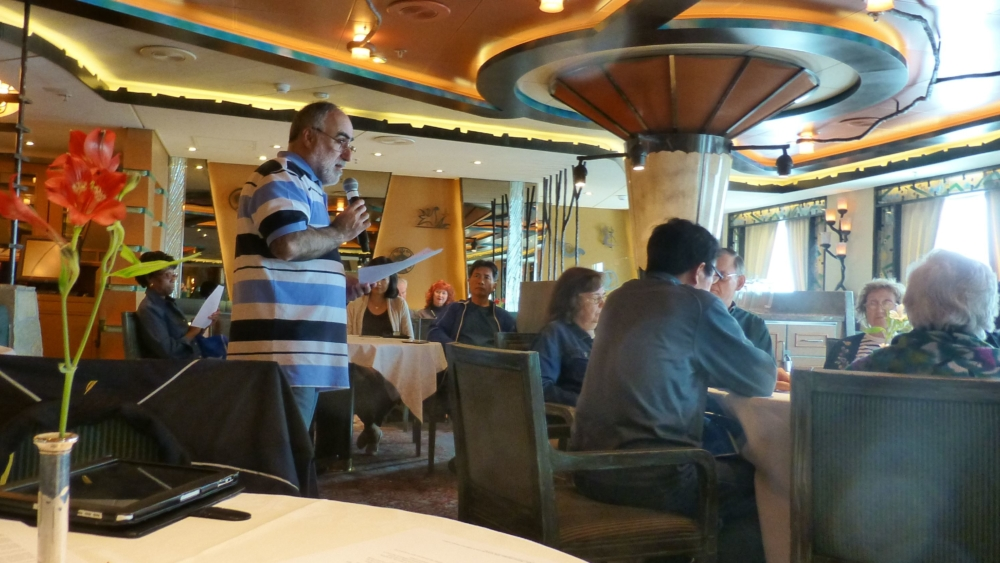 Phil Zamagias leads a Bible study on board a Princess Cruise ship