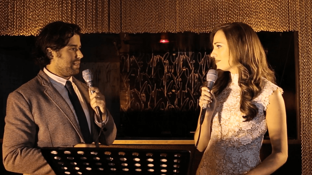 Broadway stars Laura Osnes and Josh Harris perform songs from 'Angels' at the New York launch of the studio recording for the full musical earlier this year.