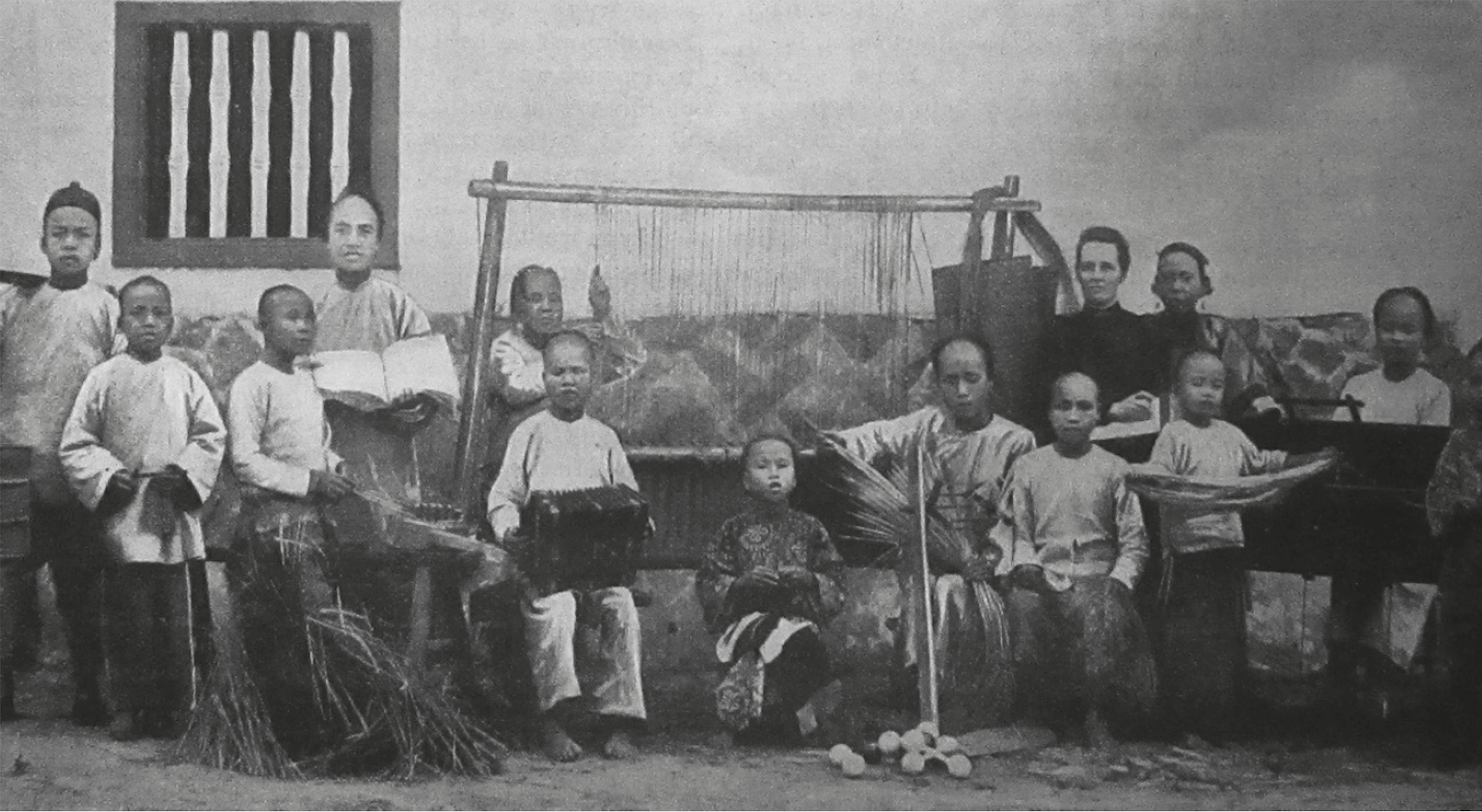 Some early students at the Blind Boys School in Deng Doi, c.1899