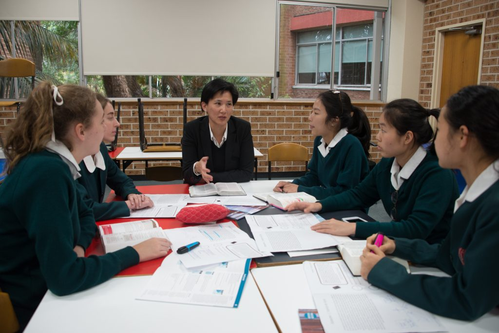 Edwina Soh leads Bible study at Presbyterian Ladies College, Sydney